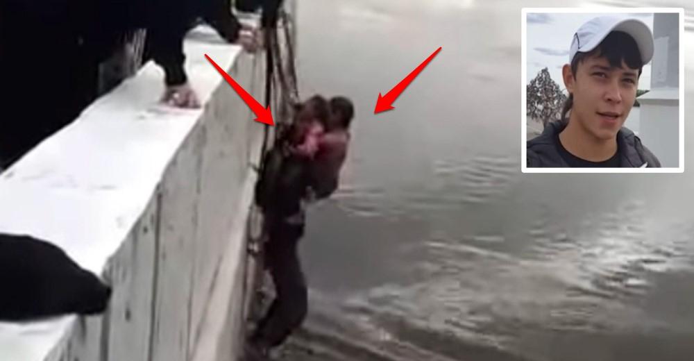 El heroico acto de un joven de 16 años salva a 2 niñas que cayeron a un lago congelado