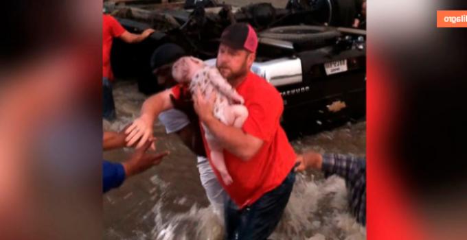 Increíble rescate de 2 niños atrapados en un auto volcado