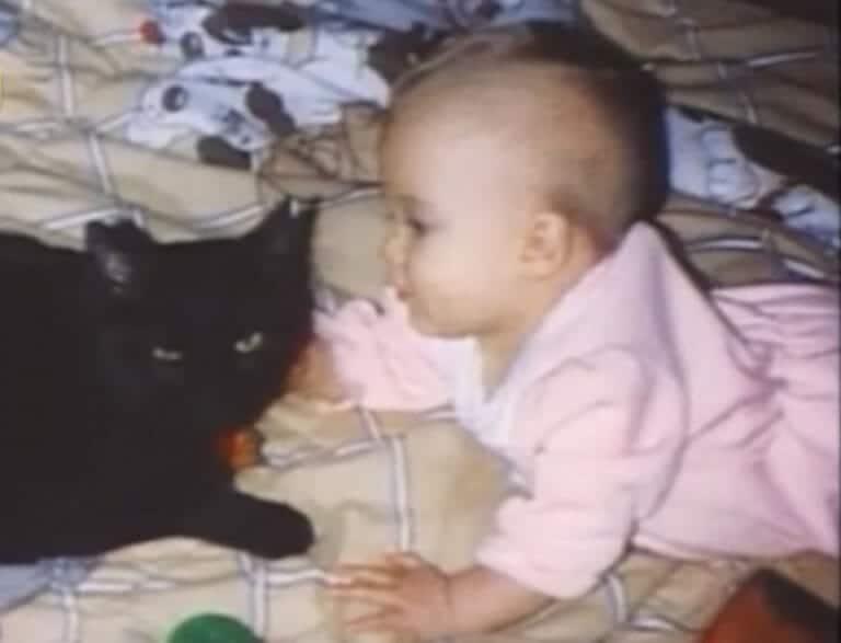 niño con un gato negro de mascota