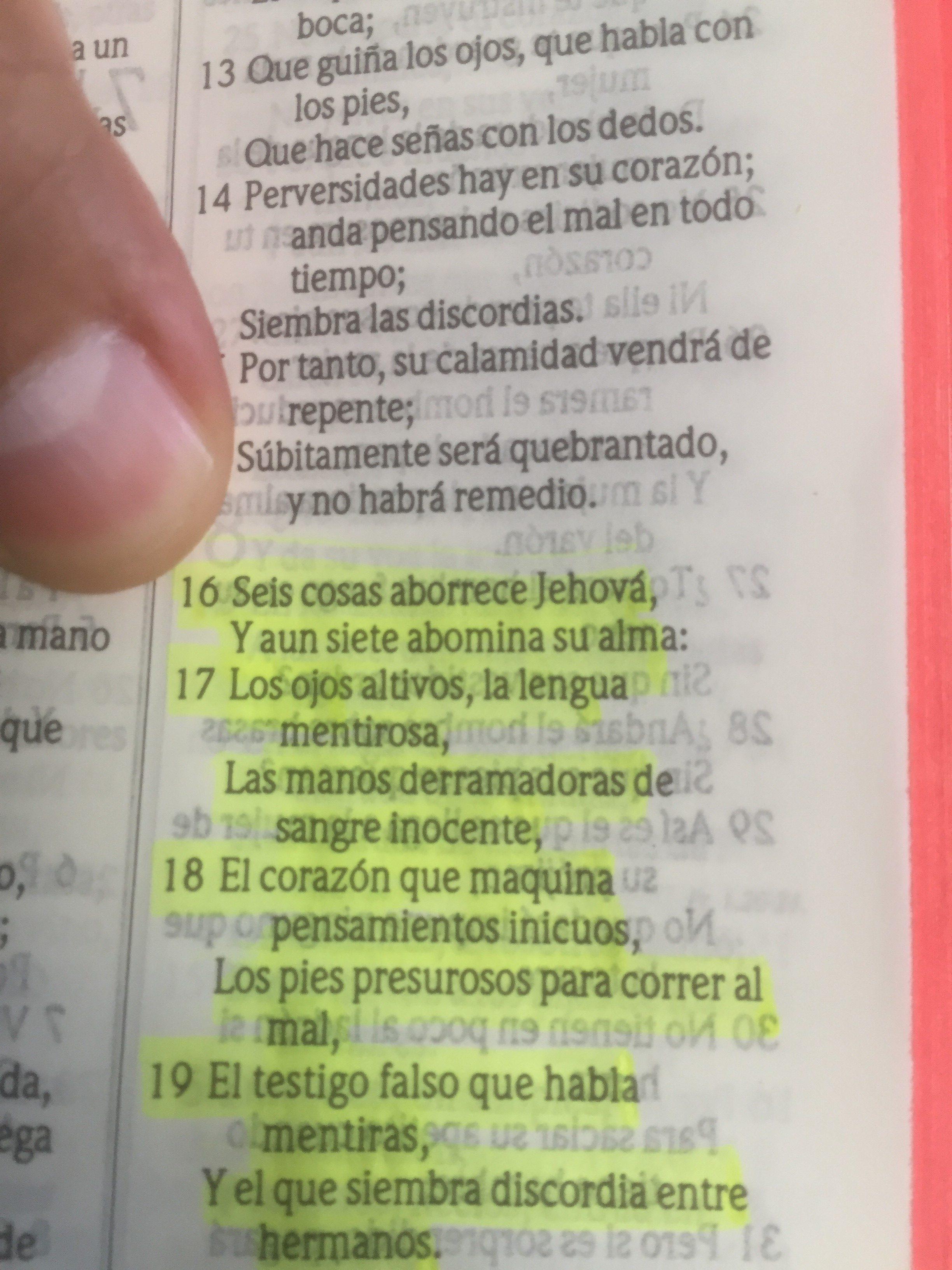 Proverbios 6 : 16-19
