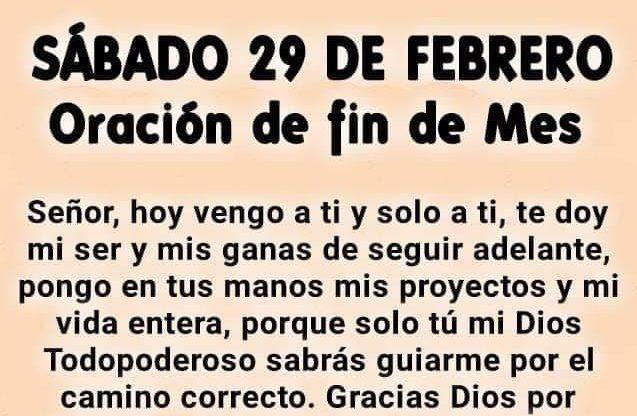 oración de fin de mes 29 de febrero 2020